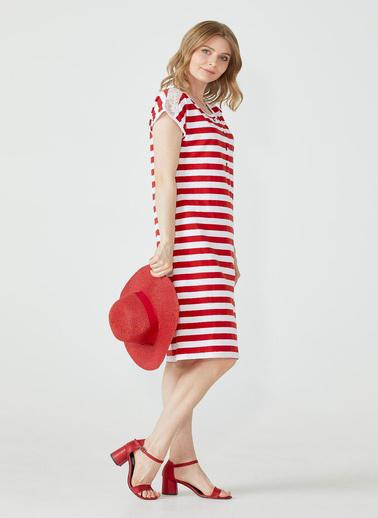 Sementa Kadın Omuzu Dantel Detaylı Çizgili Elbise - Kırmızı Kırmızı